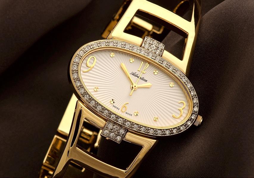 002-damski zloty zegarek na jedwabiu