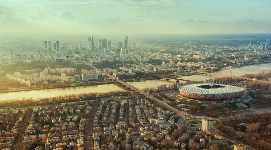 Stadion Narodowy Warszawa 2013, fotografia reklamowa, zdjęcia z lotu ptaka.